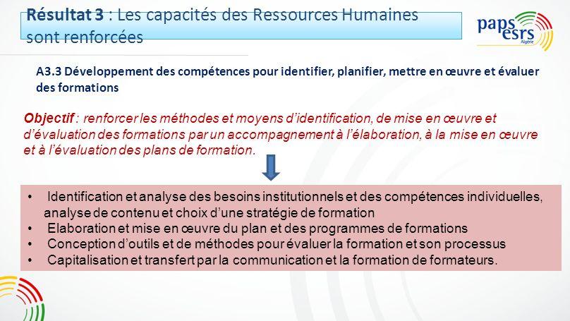 A3.3 Développement des compétences pour identifier, planifier, mettre en œuvre et évaluer des formations Objectif : renforcer les méthodes et moyens d