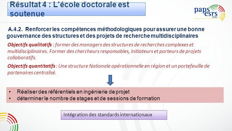A.4.2. Renforcer les compétences méthodologiques pour assurer une bonne gouvernance des structures et des projets de recherche multidisciplinaires Obj