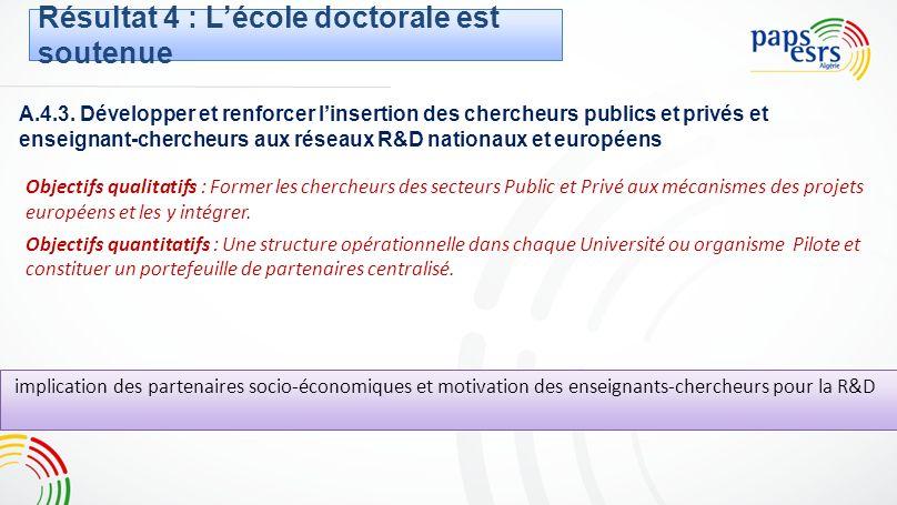 A.4.3. Développer et renforcer linsertion des chercheurs publics et privés et enseignant-chercheurs aux réseaux R&D nationaux et européens Objectifs q