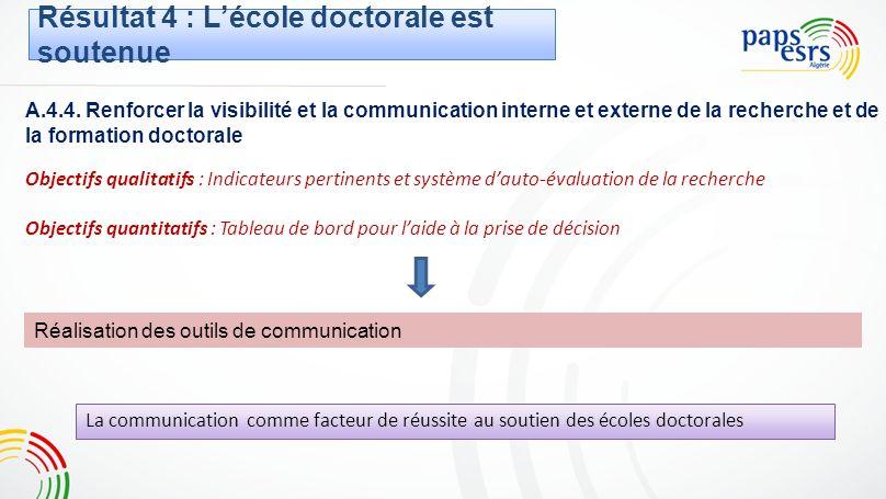 A.4.4. Renforcer la visibilité et la communication interne et externe de la recherche et de la formation doctorale Objectifs qualitatifs : Indicateurs