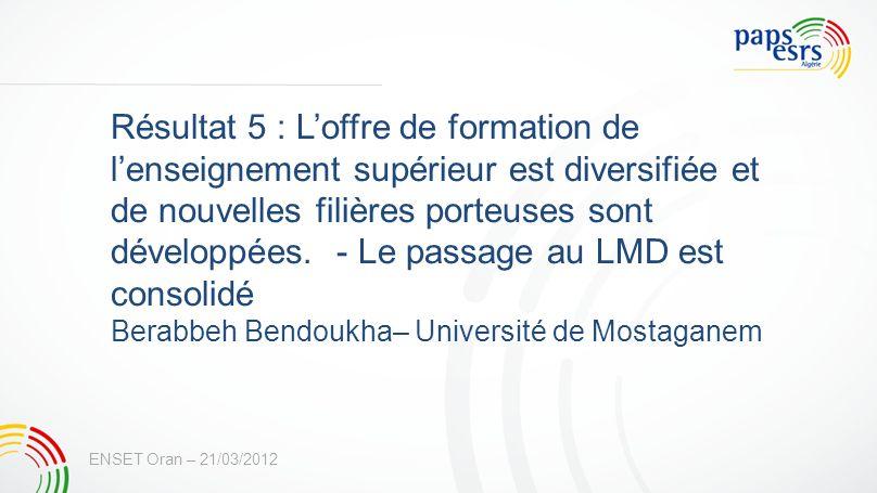 Résultat 5 : Loffre de formation de lenseignement supérieur est diversifiée et de nouvelles filières porteuses sont développées. - Le passage au LMD e