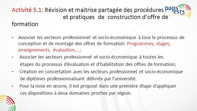 Activité 5.1: Révision et maitrise partagée des procédures et pratiques de construction doffre de formation - Associer les secteurs professionnel et s