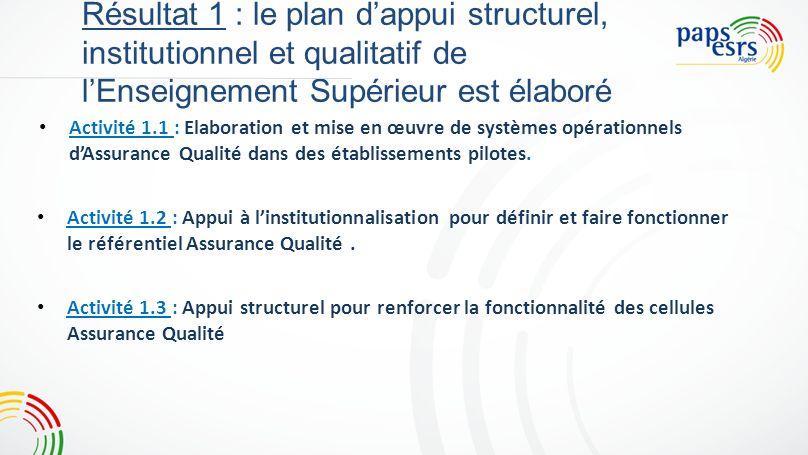 Résultat 1 : le plan dappui structurel, institutionnel et qualitatif de lEnseignement Supérieur est élaboré Activité 1.1: Elaboration et mise en œuvre de systèmes opérationnels dAssurance Qualité dans des établissements pilotes.