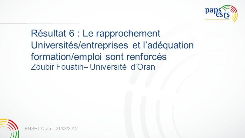 Résultat 6 : Le rapprochement Universités/entreprises et ladéquation formation/emploi sont renforcés Zoubir Fouatih– Université dOran ENSET Oran – 21/