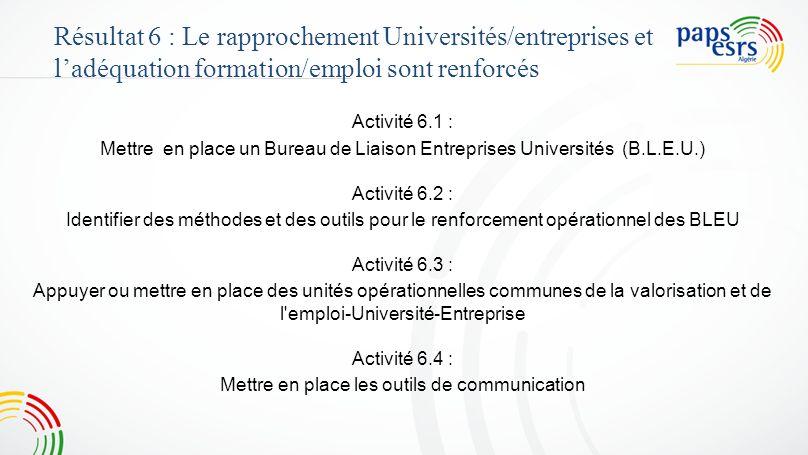 Activité 6.1 : Mettre en place un Bureau de Liaison Entreprises Universités (B.L.E.U.) Activité 6.2 : Identifier des méthodes et des outils pour le re