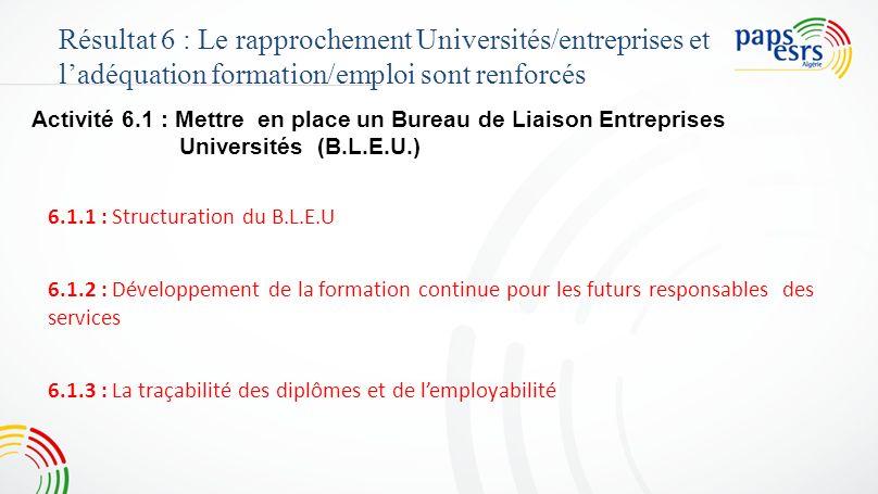 Activité 6.1 : Mettre en place un Bureau de Liaison Entreprises Universités (B.L.E.U.) Résultat 6 : Le rapprochement Universités/entreprises et ladéqu