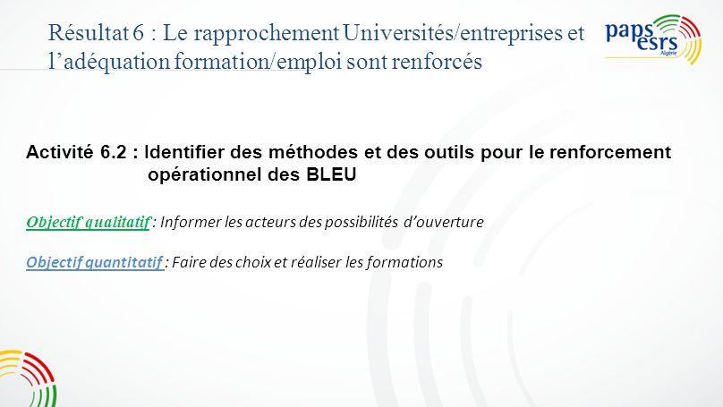 Activité 6.2 : Identifier des méthodes et des outils pour le renforcement opérationnel des BLEU Objectif qualitatif : Informer les acteurs des possibi