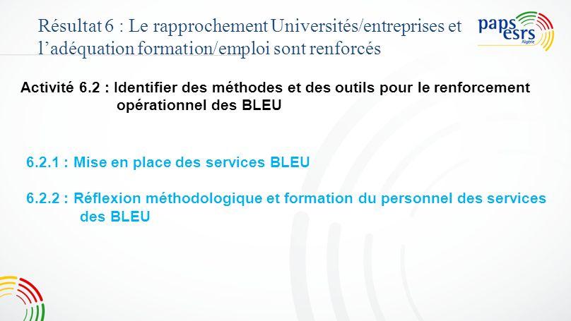 Activité 6.2 : Identifier des méthodes et des outils pour le renforcement opérationnel des BLEU Résultat 6 : Le rapprochement Universités/entreprises