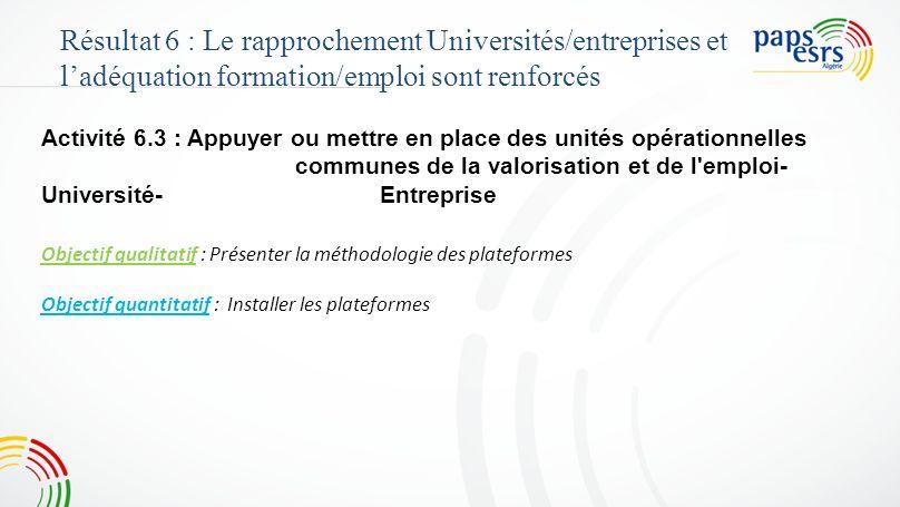 Activité 6.3 : Appuyer ou mettre en place des unités opérationnelles communes de la valorisation et de l'emploi- Université-Entreprise Objectif qualit