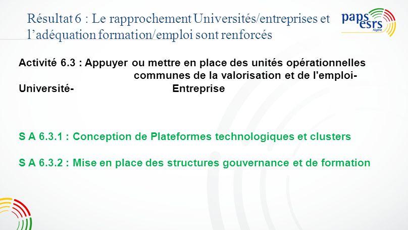 Activité 6.3 : Appuyer ou mettre en place des unités opérationnelles communes de la valorisation et de l'emploi- Université-Entreprise Résultat 6 : Le