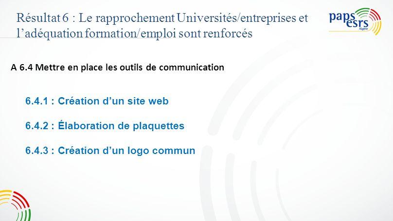 Résultat 6 : Le rapprochement Universités/entreprises et ladéquation formation/emploi sont renforcés A 6.4 Mettre en place les outils de communication