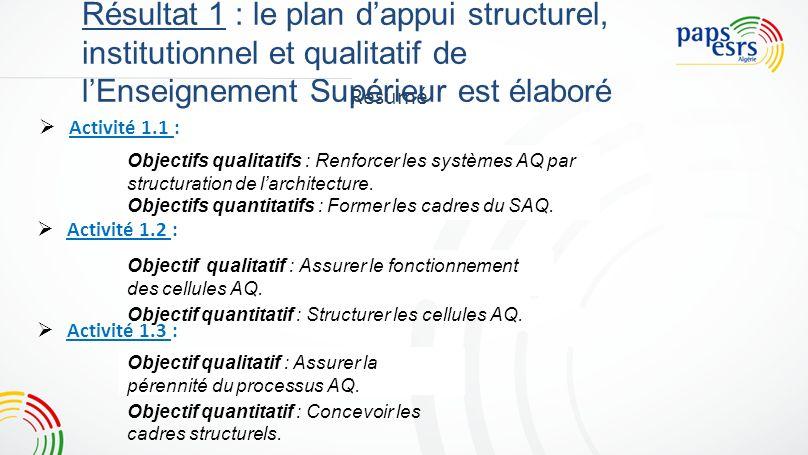 Résultat 1 : le plan dappui structurel, institutionnel et qualitatif de lEnseignement Supérieur est élaboré Activité 1.1 : Activité 1.2 : Activité 1.3