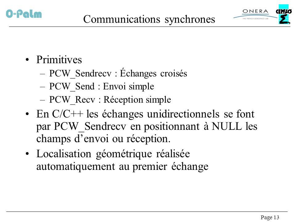Page 13 Communications synchrones Primitives –PCW_Sendrecv : Échanges croisés –PCW_Send : Envoi simple –PCW_Recv : Réception simple En C/C++ les échanges unidirectionnels se font par PCW_Sendrecv en positionnant à NULL les champs denvoi ou réception.