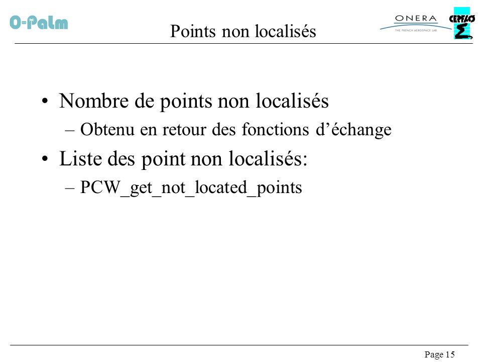 Page 15 Points non localisés Nombre de points non localisés –Obtenu en retour des fonctions déchange Liste des point non localisés: –PCW_get_not_located_points