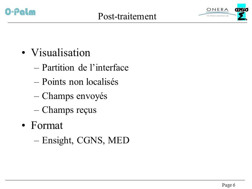 Page 6 Post-traitement Visualisation –Partition de linterface –Points non localisés –Champs envoyés –Champs reçus Format –Ensight, CGNS, MED