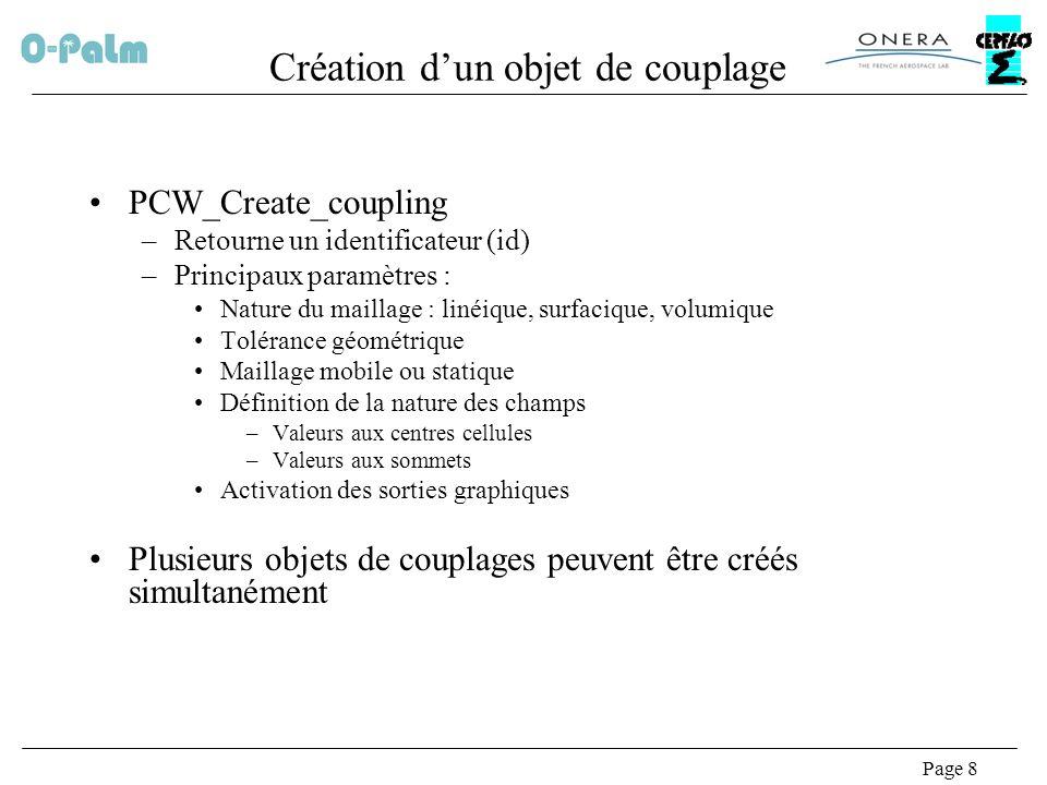 Page 9 Définition dun maillage PCW_define_mesh : –Paramètres Id de lobjet de couplage Nombre de sommets et coordonnées Nombre déléments et connectivité Les tableaux en entrée sont mappés en mémoire –Possibilité de partager le même maillage entre plusieurs objets de couplage