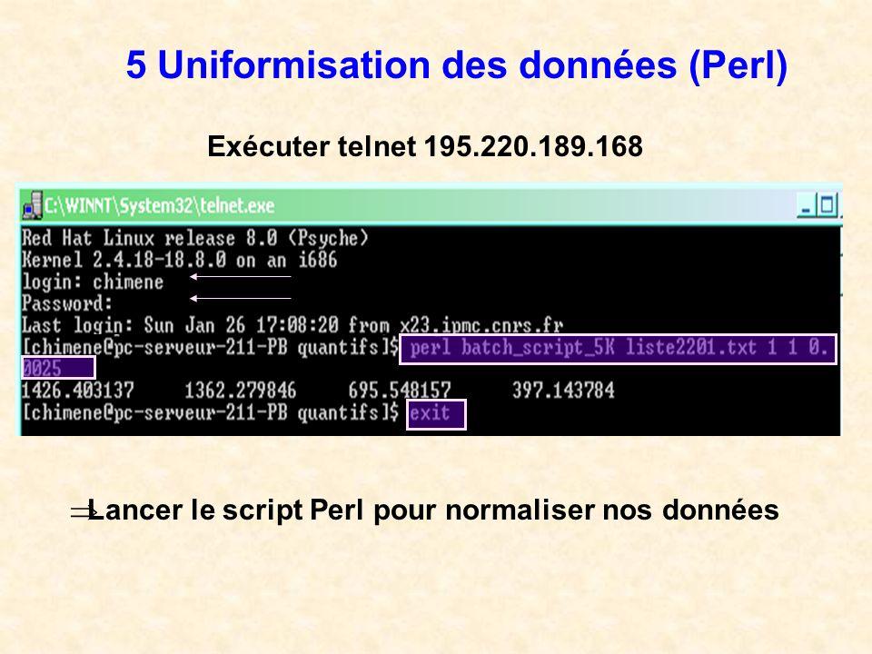 5 Uniformisation des données (Perl) Exécuter telnet 195.220.189.168 Lancer le script Perl pour normaliser nos données