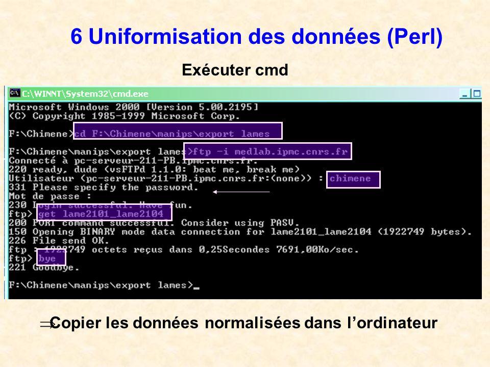 6 Uniformisation des données (Perl) Exécuter cmd Copier les données normalisées dans lordinateur