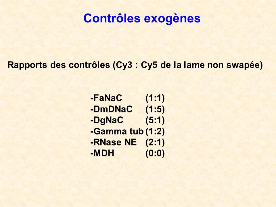 Rapports des contrôles (Cy3 : Cy5 de la lame non swapée) -FaNaC (1:1) -DmDNaC(1:5) -DgNaC(5:1) -Gamma tub(1:2) -RNase NE(2:1) -MDH(0:0) Contrôles exog