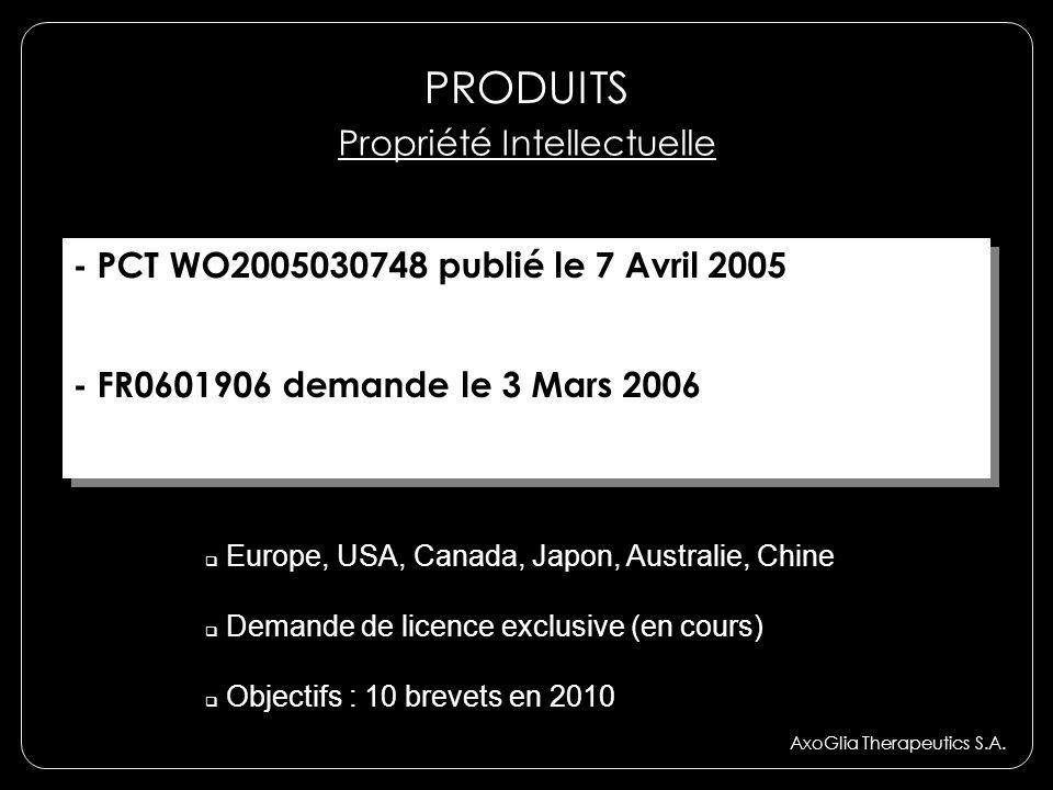 AxoGlia Therapeutics S.A. Propriété Intellectuelle - PCT WO2005030748 publié le 7 Avril 2005 - FR0601906 demande le 3 Mars 2006 - PCT WO2005030748 pub