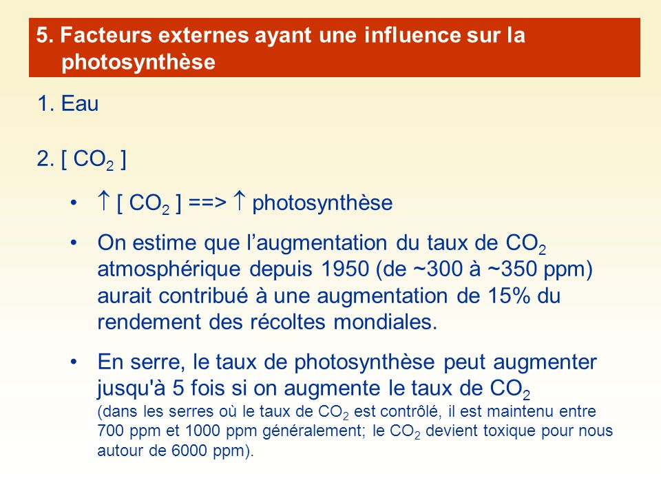 5. Facteurs externes ayant une influence sur la photosynthèse 1. Eau 2. [ CO 2 ] [ CO 2 ] ==> photosynthèse On estime que laugmentation du taux de CO