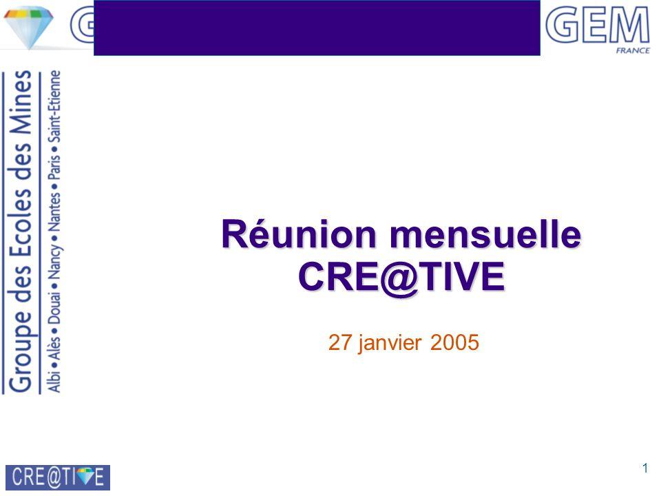 1 Réunion mensuelle CRE@TIVE 27 janvier 2005