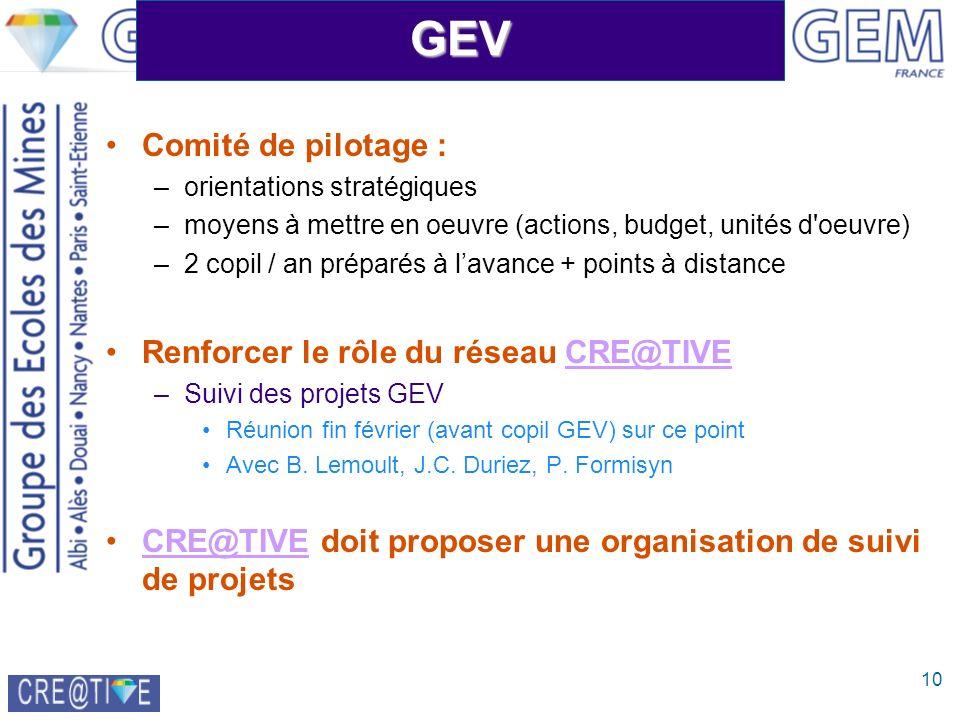 10GEV Comité de pilotage : –orientations stratégiques –moyens à mettre en oeuvre (actions, budget, unités d'oeuvre) –2 copil / an préparés à lavance +