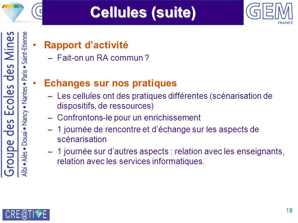18 Cellules (suite) Rapport dactivité –Fait-on un RA commun ? Echanges sur nos pratiques –Les cellules ont des pratiques différentes (scénarisation de