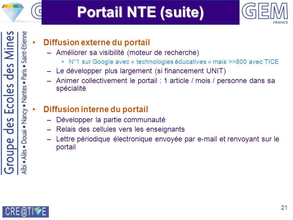 21 Portail NTE (suite) Diffusion externe du portail –Améliorer sa visibilité (moteur de recherche) N°1 sur Google avec « technologies éducatives » mai