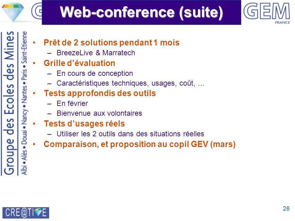 26 Web-conference (suite) Prêt de 2 solutions pendant 1 mois –BreezeLive & Marratech Grille dévaluation –En cours de conception –Caractéristiques tech