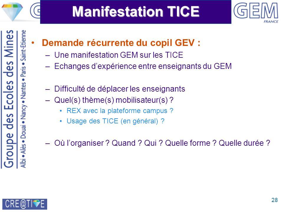 28 Manifestation TICE Demande récurrente du copil GEV : –Une manifestation GEM sur les TICE –Echanges dexpérience entre enseignants du GEM –Difficulté de déplacer les enseignants –Quel(s) thème(s) mobilisateur(s) .