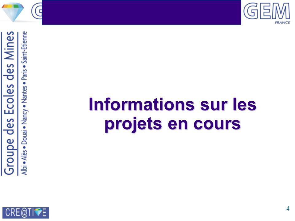 4 Informations sur les projets en cours