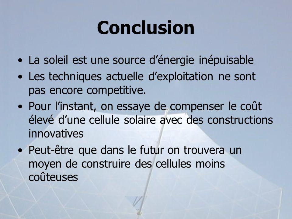 Conclusion La soleil est une source dénergie inépuisable Les techniques actuelle dexploitation ne sont pas encore competitive. Pour linstant, on essay