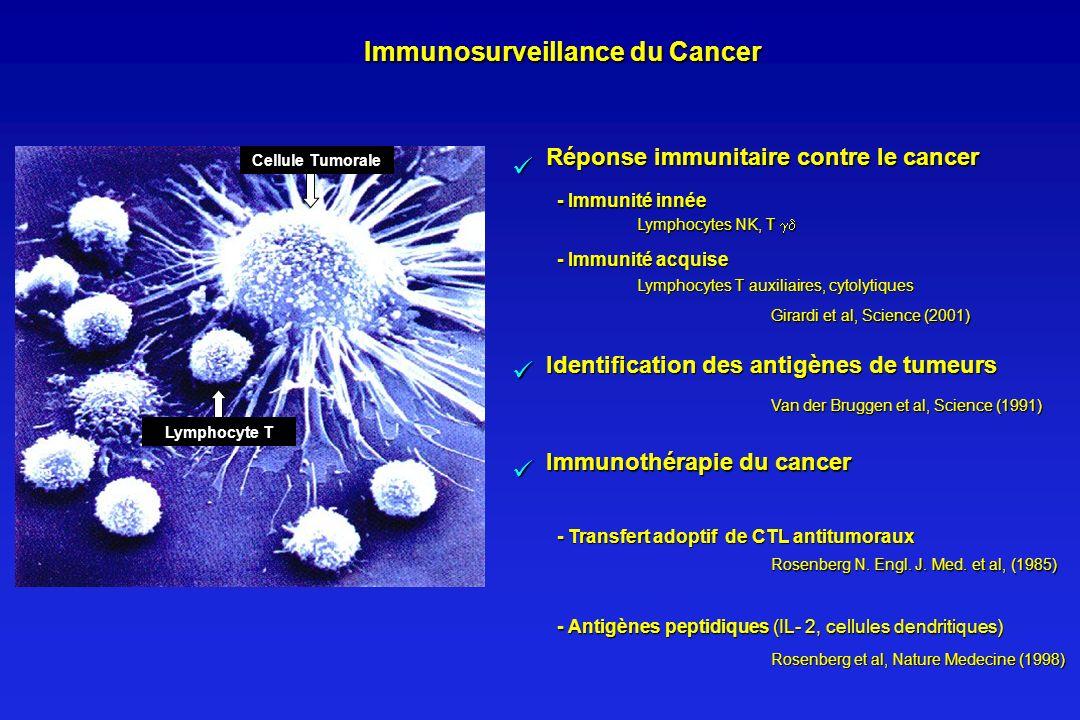 Immunosurveillance du Cancer Réponse immunitaire contre le cancer - Immunité innée Lymphocytes NK, T Lymphocytes NK, T - Immunité acquise Lymphocytes