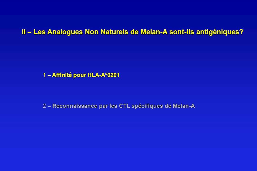 1 – Affinité pour HLA-A*0201 2 – Reconnaissance par les CTL spécifiques de Melan-A II – Les Analogues Non Naturels de Melan-A sont-ils antigéniques?