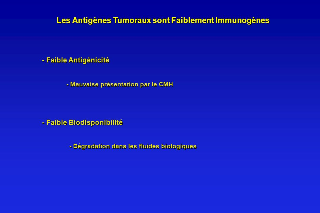 Les Antigènes Tumoraux sont Faiblement Immunogènes Les Antigènes Tumoraux sont Faiblement Immunogènes - Faible Antigénicité - Mauvaise présentation pa