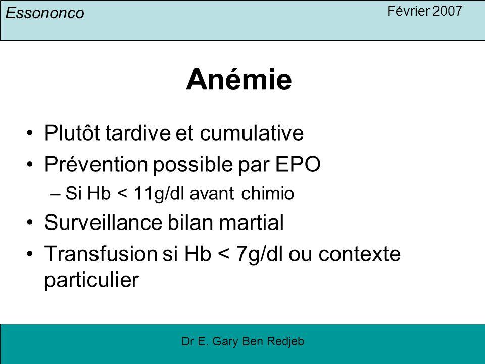 Essononco Février 2007 Dr E. Gary Ben Redjeb Anémie Plutôt tardive et cumulative Prévention possible par EPO –Si Hb < 11g/dl avant chimio Surveillance