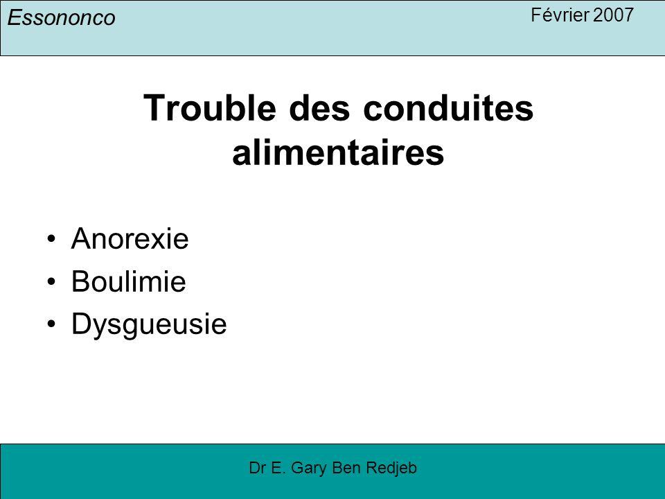 Essononco Février 2007 Dr E. Gary Ben Redjeb Trouble des conduites alimentaires Anorexie Boulimie Dysgueusie