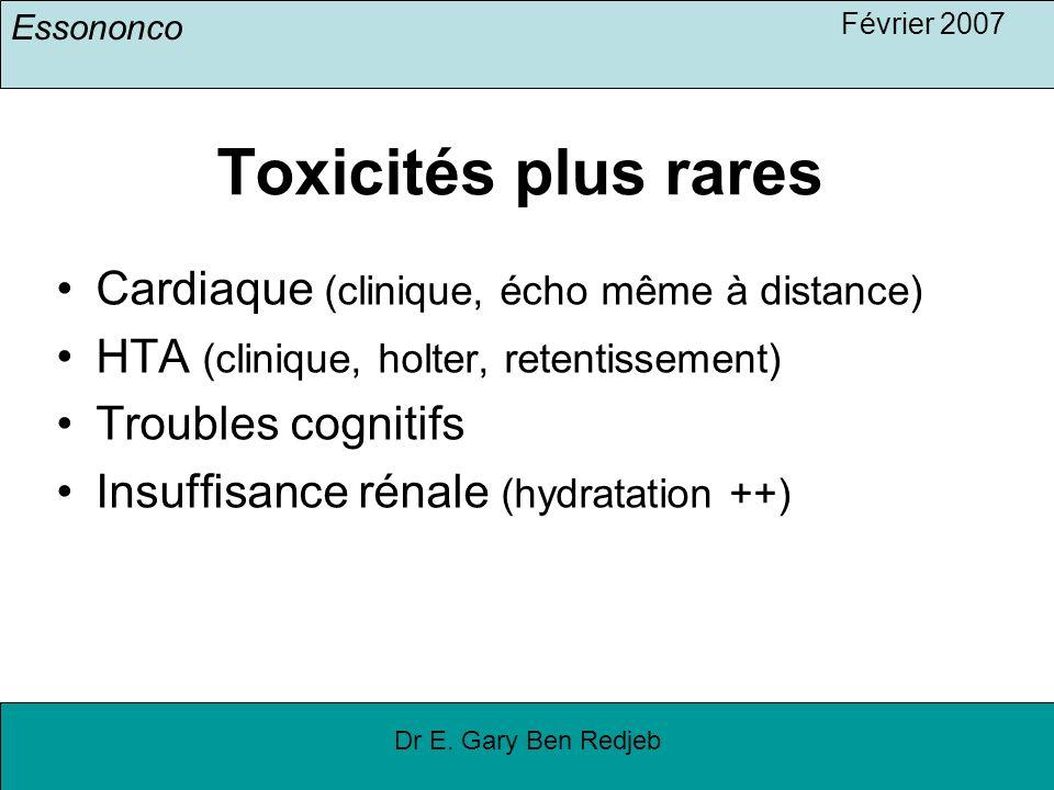 Essononco Février 2007 Dr E. Gary Ben Redjeb Toxicités plus rares Cardiaque (clinique, écho même à distance) HTA (clinique, holter, retentissement) Tr
