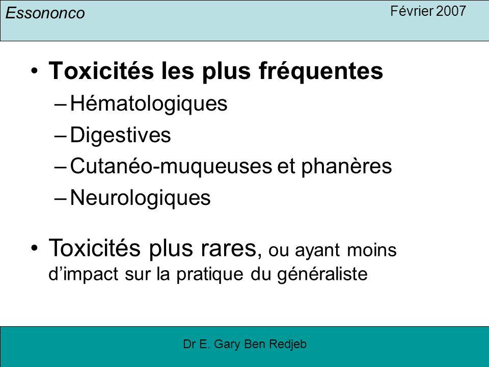 Essononco Février 2007 Dr E. Gary Ben Redjeb Toxicités les plus fréquentes –Hématologiques –Digestives –Cutanéo-muqueuses et phanères –Neurologiques T