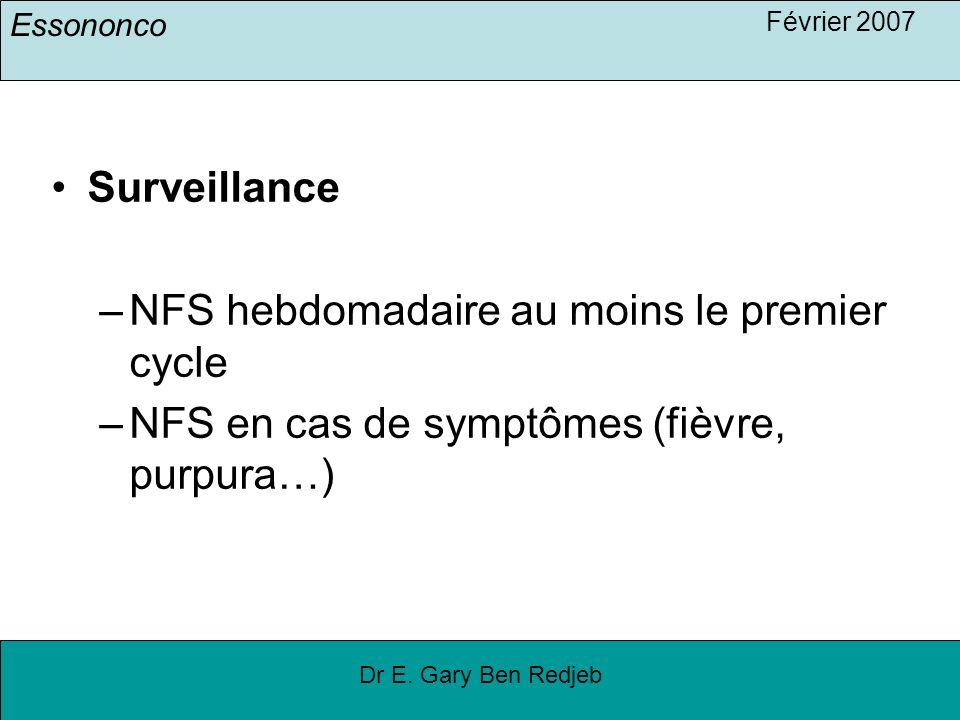 Essononco Février 2007 Dr E. Gary Ben Redjeb Surveillance –NFS hebdomadaire au moins le premier cycle –NFS en cas de symptômes (fièvre, purpura…)