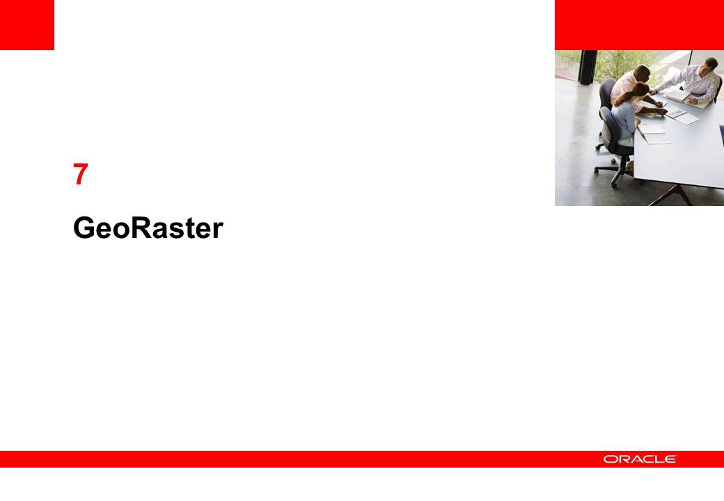 Initialisation des Rasters INSERT INTO UK_RASTERS (ID, GEORASTER) VALUES (1, SDO_GEOR.INIT( UK_RASTERS_RDT_1 ,3001)); INSERT INTO UK_RASTERS (ID, GEORASTER) VALUES (2, SDO_GEOR.INIT( UK_RASTERS_RDT_1 ,3002)); INSERT INTO UK_RASTERS (ID, GEORASTER) VALUES (3, SDO_GEOR.INIT( UK_RASTERS_RDT_2 ,3003)); INSERT INTO UK_RASTERS (ID, GEORASTER) VALUES (4, SDO_GEOR.INIT( UK_RASTERS_RDT_2 ,3004)); Insertion rasters vides: Raster data tableRaster id