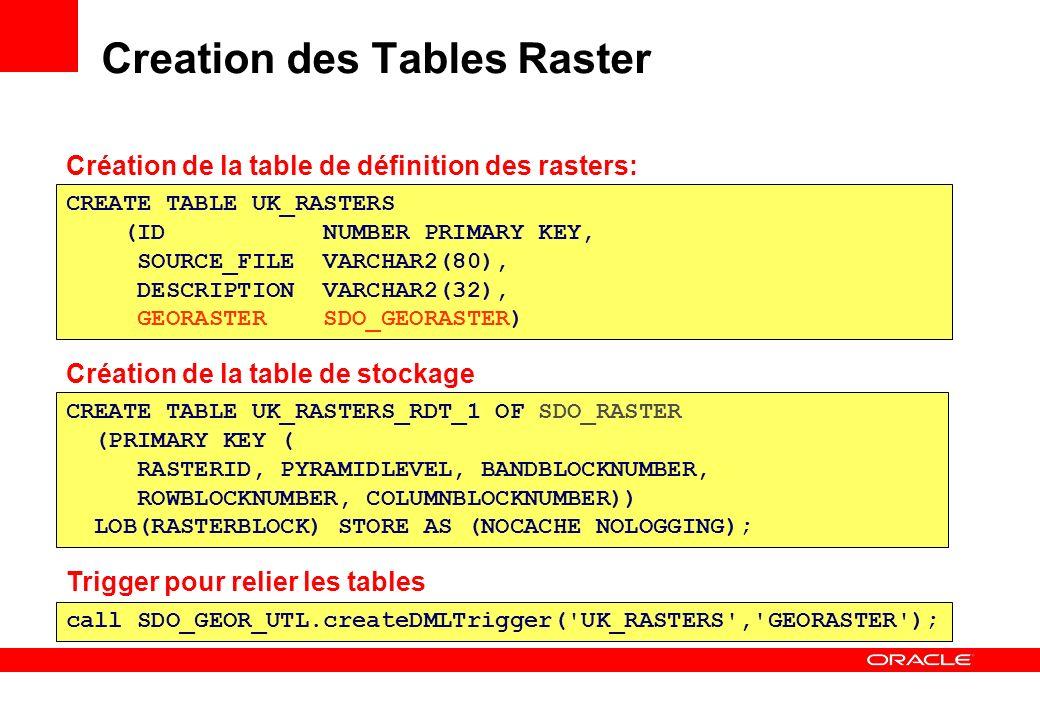 Creation des Tables Raster CREATE TABLE UK_RASTERS_RDT_1 OF SDO_RASTER (PRIMARY KEY ( RASTERID, PYRAMIDLEVEL, BANDBLOCKNUMBER, ROWBLOCKNUMBER, COLUMNB