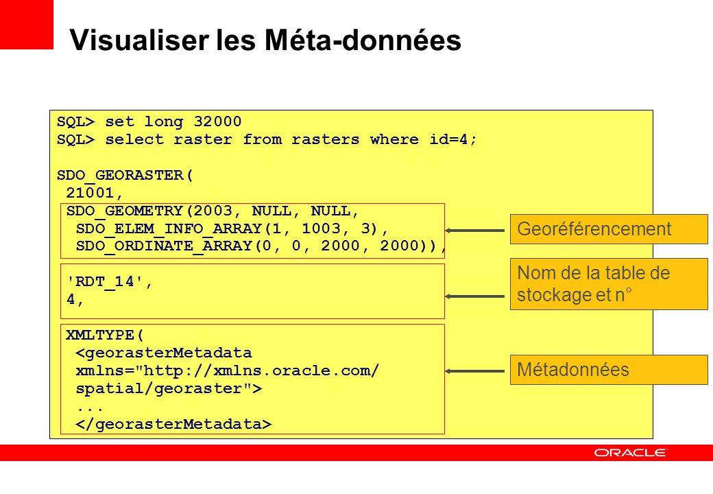 SQL> set long 32000 SQL> select raster from rasters where id=4; SDO_GEORASTER( 21001, SDO_GEOMETRY(2003, NULL, NULL, SDO_ELEM_INFO_ARRAY(1, 1003, 3),