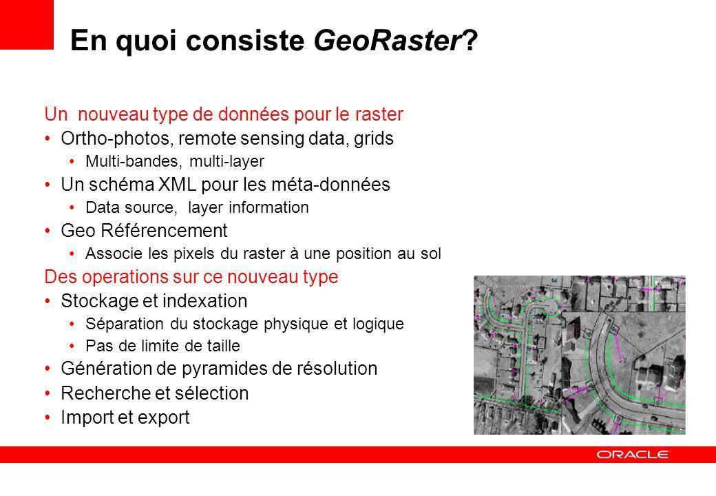 Import de rasters GeoRasterLoader Possible de charger plusieurs images en une fois java -Xms900M -Xmx900M GeoRasterLoader 127.0.0.1 orcl101 1521 georaster georaster thin 32 T rasters raster blocking=true,blocksize=(512,512,1) /usr/rasters/r1.tif 3002,UK_RASTERS_RDT_1 Paramètres de connexion JDBC Table et colonne Blocage Fichier Source Raster id et data table