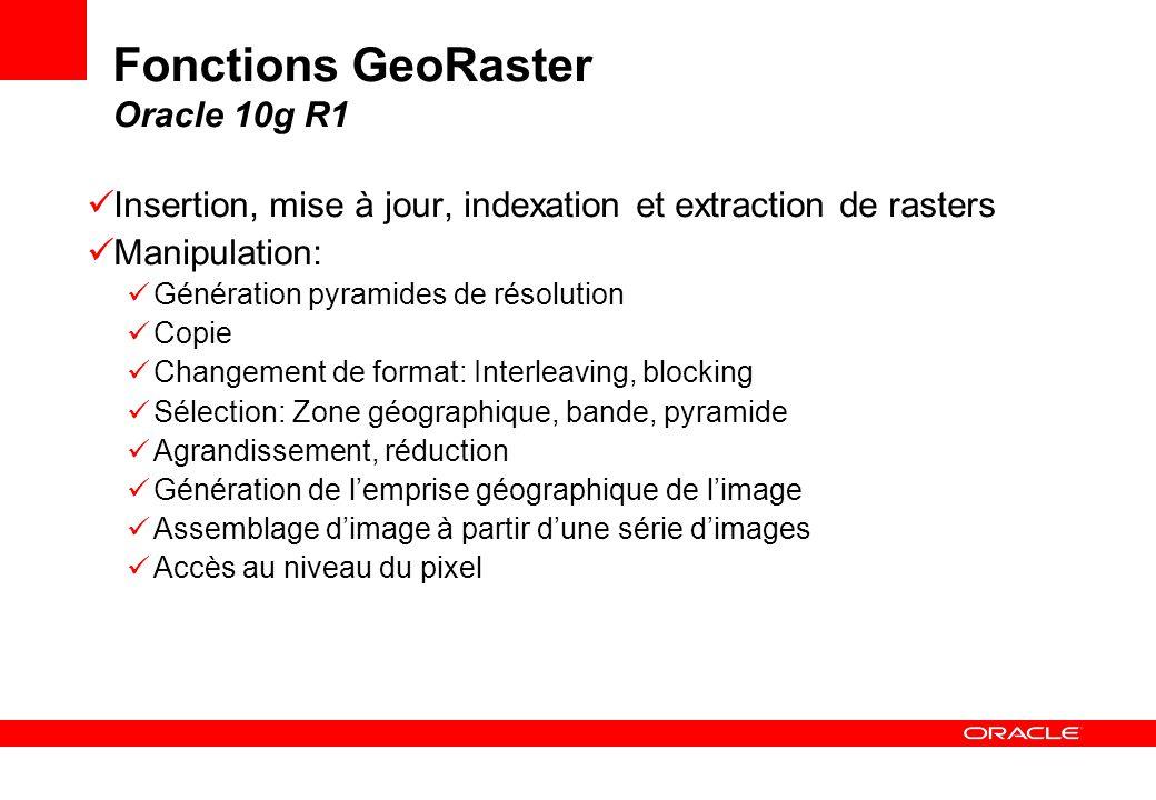 Fonctions GeoRaster Oracle 10g R1 Insertion, mise à jour, indexation et extraction de rasters Manipulation: Génération pyramides de résolution Copie C