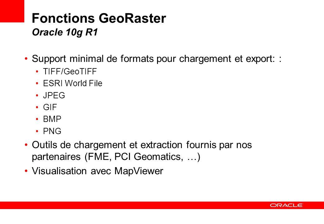 Fonctions GeoRaster Oracle 10g R1 Support minimal de formats pour chargement et export: : TIFF/GeoTIFF ESRI World File JPEG GIF BMP PNG Outils de char
