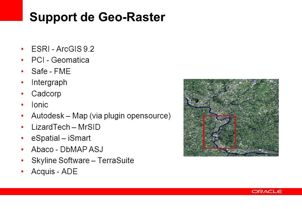 Support de Geo-Raster ESRI - ArcGIS 9.2 PCI - Geomatica Safe - FME Intergraph Cadcorp Ionic Autodesk – Map (via plugin opensource) LizardTech – MrSID