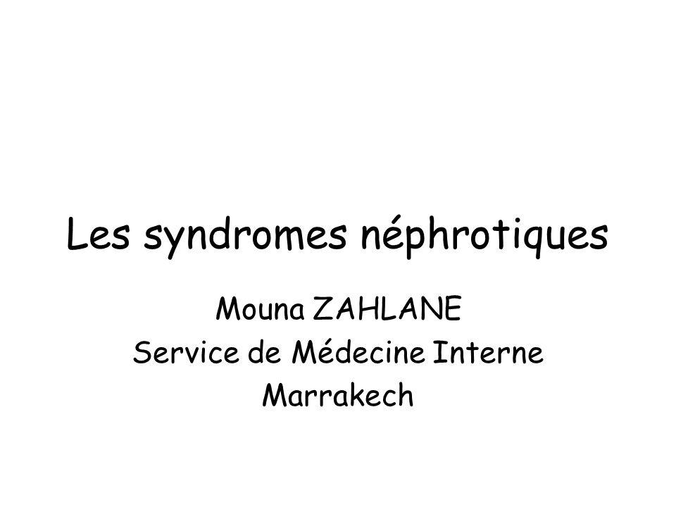 Les syndromes néphrotiques Mouna ZAHLANE Service de Médecine Interne Marrakech