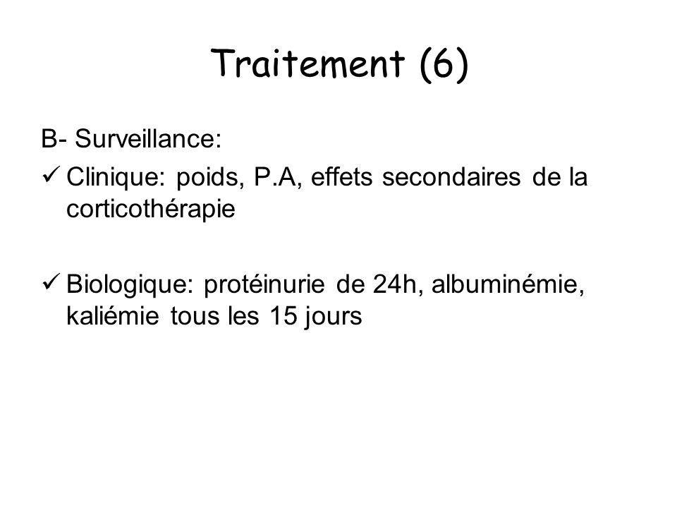 Traitement (6) B- Surveillance: Clinique: poids, P.A, effets secondaires de la corticothérapie Biologique: protéinurie de 24h, albuminémie, kaliémie t